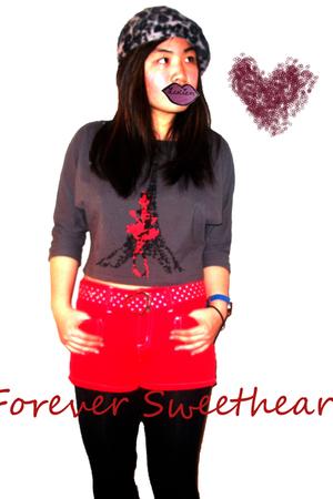 black Forever21 hat - black Forever21 leggings - red shorts
