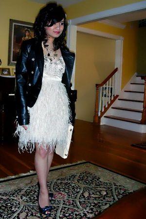 black Guess jacket - beige sue wong dress - blue shoes