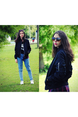 black zaful jacket - blue pull&bear jeans - Zara glasses