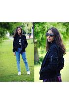 black zaful jacket - blue pull&bear jeans - Zara glasses