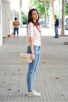 light pink Bershka shoes - teal Pull & Bear jeans - light pink CNdirect shirt