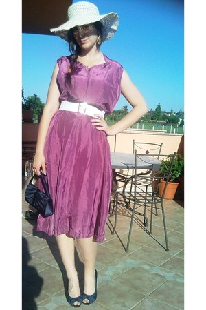 magenta vintage dress - ivory vintage hat - navy no name bag