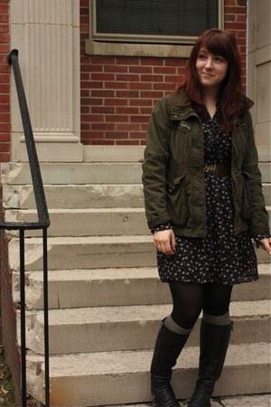 Steve Madden boots - sashimi jacket - H&M socks - vintage belt - Express skirt
