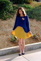 mustard Forever 21 skirt - navy knit Forever 21 sweater
