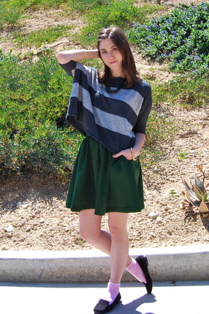 dark green H&M skirt - charcoal gray striped Forever 21 sweater