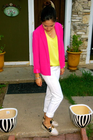 lime green Target blouse - white Forever21 jeans - hot pink Forever 21 blazer