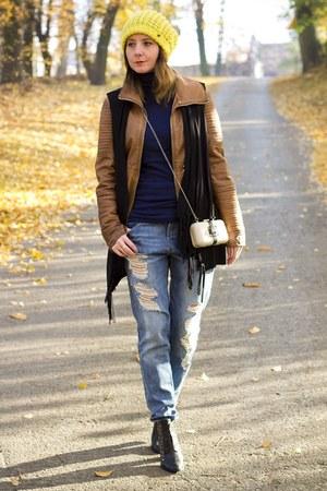 leather jacket Bershka jacket - reserved boots - boyfriend jeans cropp jeans