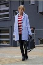 baby blue coat Bershka coat - house bag - leather pants Sinsay pants