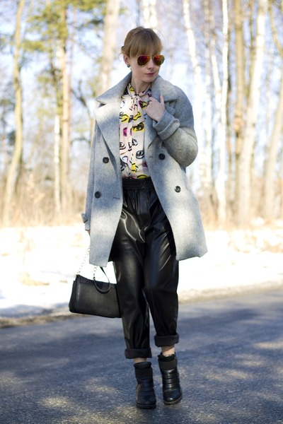 Bershka coat - Tally Weijl bag - leather pants Zara pants