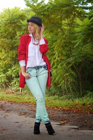 red second hand jacket - black pull&bear boots - aquamarine New Yorker jeans