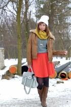 orange skirt H&M skirt - leather jacket Bershka jacket