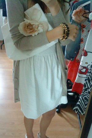 white Cubus dress - white H&M bag - beige Cubus cardigan