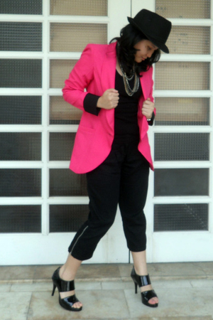 black jockey for women top - pink style district blazer - black Mental pants - b