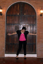 black Diane Von Furstenberg jacket - black random pants - pink random top - blac