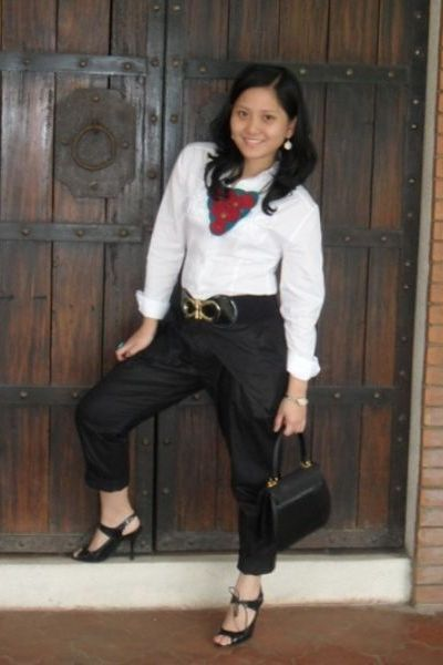 pants - belt - shoes - top - purse - accessories