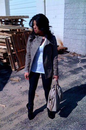 beige H&M jacket - white Forever 21 shirt - beige Forever 21 purse