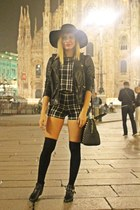 black Rich&Famous boots - black H&M hat - black leather Zara jacket