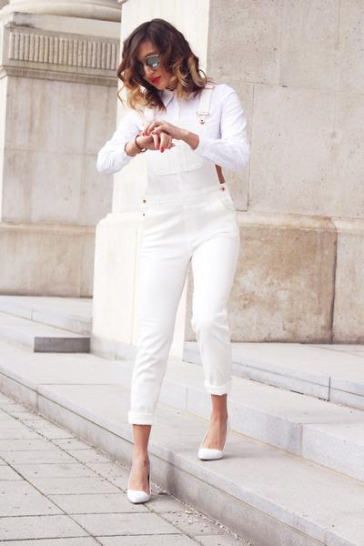 white romwe shirt - ivory H&M jeans - silver Freya Stores sunglasses