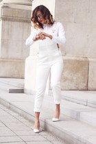 white romwe shirt - ivory H&M jeans - silver Freya Stores sunglasses