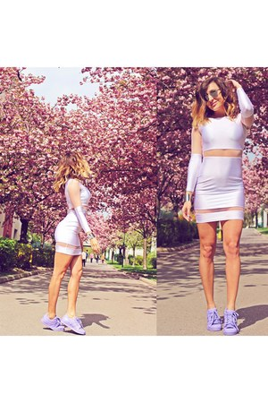 white Sheinside dress - periwinkle Adidas sneakers