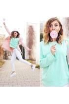 light pink Zara coat - aquamarine High Quality Buy sweater