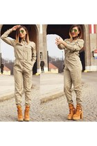 orange Jeffrey Campbell boots - chartreuse Ray Ban sunglasses - beige H&M romper