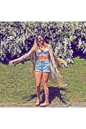 sky blue Primark shorts - white H&M top - nude Sheinside vest