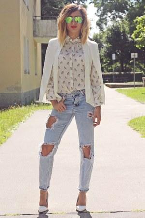 periwinkle pull&bear jeans - off white Sheinside blazer
