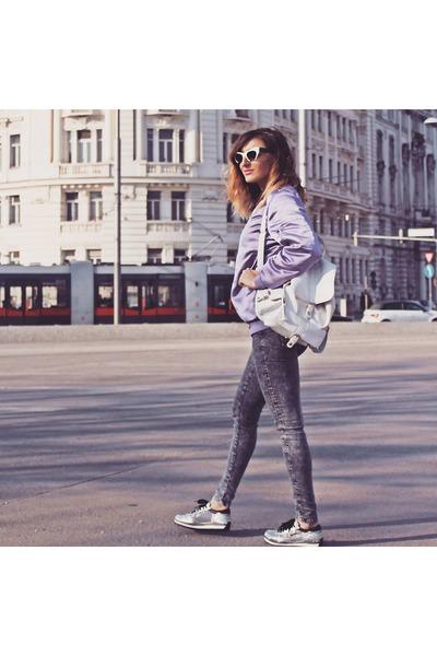 light purple H&M jacket - heather gray Bershka jeans - off white Primark bag