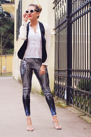 ivory Zara blazer - silver sequin H&M leggings - ivory Miu Miu sunglasses