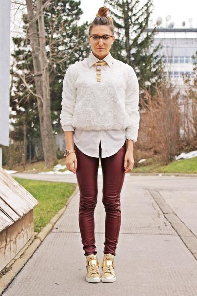 off white Choies blouse - off white romwe shirt - brick red Bershka pants