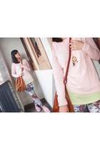 light pink Stradivarius sweater - tawny H&M bag - lime green ColorBox top
