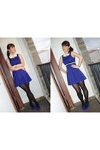 blue unbranded dress - black unbranded leggings - blue Brash wedges