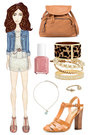ivory peplum Nasty Gal dress - blue denim H&M jacket - bronze rucksack Zara bag