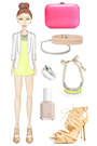 neutral Bless bracelet - yellow neon Nasty Gal dress - white Zara blazer