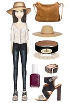 black leather J Brand pants - tan straw Melissa Odabash hat