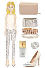 neutral metal cap Zara pumps - light pink box clutch Witchery bag