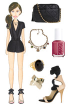 neutral Vionnet heels - black modcloth bag - black asos romper