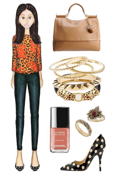 light orange leopard print asos sweater - camel Dolce Gabbana bag