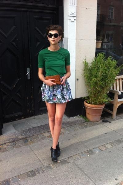 floral print Topshop skirt - suede 2nd Hand bag - H&M t-shirt