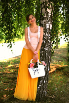 yellow Alexandra Kazakova skirt - white Enjoy-me bag - white H&M vest
