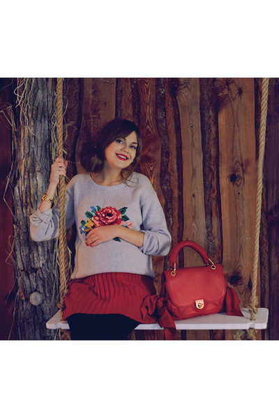 silver Cath Kidston Katie jumper - red Zac Posen bag - red Ginger and Soul skirt