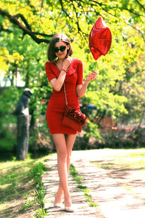 red asos dress - red aston rimell bag - light pink H&M flats