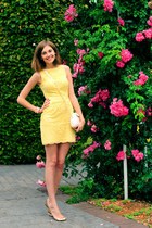 light yellow warehouse dress - white warehouse bag - gold Oasis flats