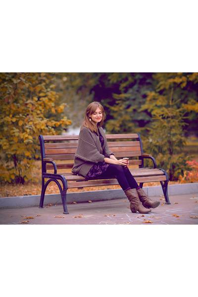 dark brown francesco donni boots - purple free people dress