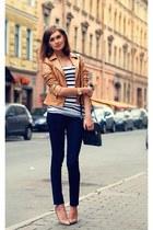 nude Oasis jacket - navy Mango jeans - navy River Island bag - nude Mango heels
