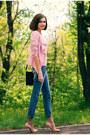 Periwinkle-asos-jeans-pink-sheinside-blazer-navy-river-island-bag