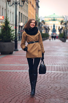 black Paolo Conte boots - tan Osome2some coat - black asos scarf