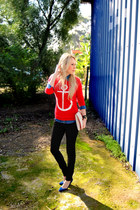 black H&M jeans - red Forever 21 sweater - blue denim shirt Stradivarius shirt