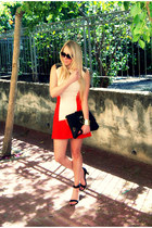 red Zara dress - black River Island bag - beige Bershka sandals